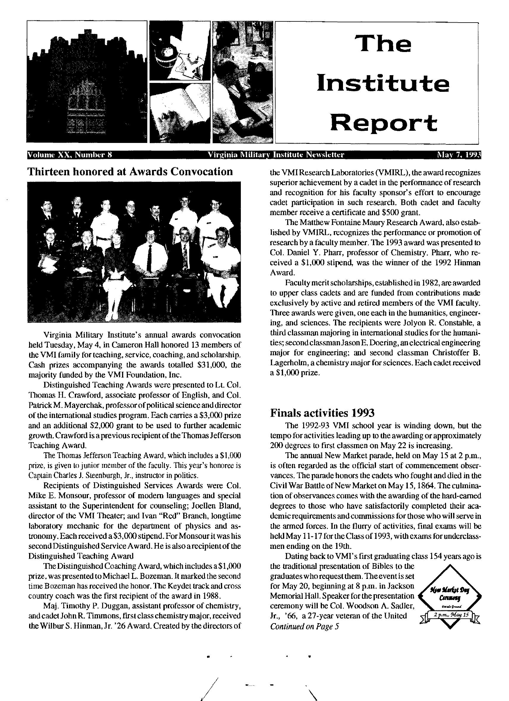 Institute Report May 7 1993 Vmi Publications Digital Archives Vmi Archives Digital Collections